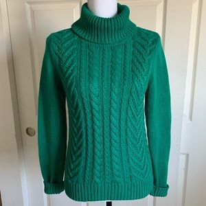 Drifter Chunky Cable Knit Turtleneck Sweater Green